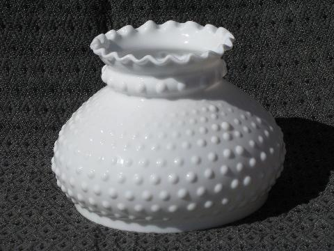 vintage milk glass student table lamp light shade pair, hobnail pattern