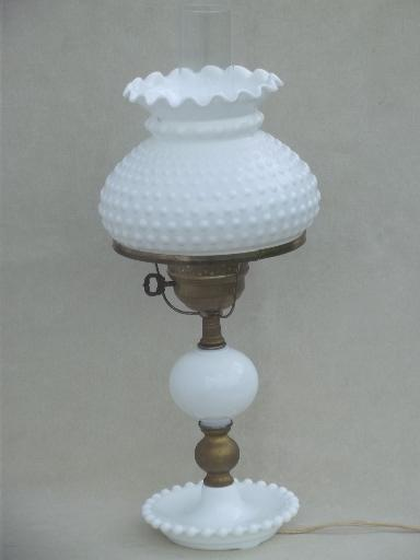 Vintage Milk Glass Table Lamp Fenton Hobnail Glass Student Lamp Shade