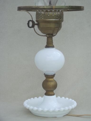 Milk glass table lamp fenton hobnail glass student lamp shade vintage milk glass table lamp fenton hobnail glass student lamp shade aloadofball Gallery