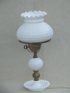 vintage milk glass table lamp, Fenton hobnail glass student lamp shade
