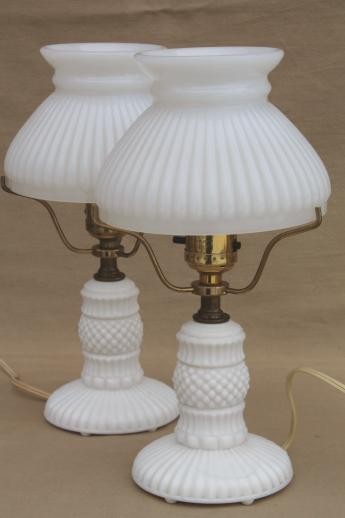 Charming Vintage Milk Glass Table Lamps, Pair Boudoir Lamp Bases W/ White Milk Glass  Student Shades