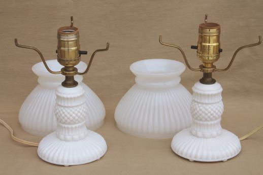 Vintage Milk Glass Table Lamps, Pair Boudoir Lamp Bases W