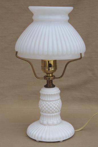 vintage milk glass table lamps pair boudoir lamp bases w