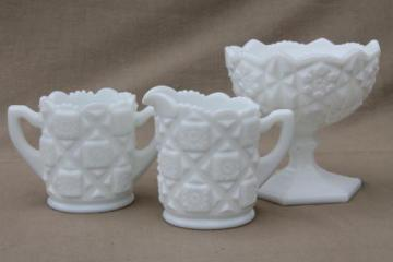 vintage milk glass table set, Westmoreland old quilt cream & sugar, compote bowl