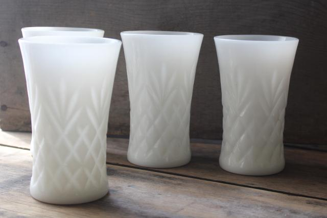 vintage milk glass tumblers, Anchor Hocking Prescut pineapple pattern drinking glasses