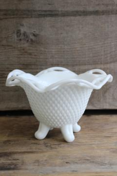 vintage milk glass vase, Imperial lace laced edge crocheted crystal pattern