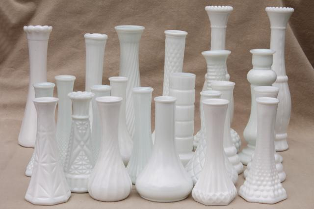 Vintage Milk Glass Vases Florists Vase Lot For Wedding Flowers