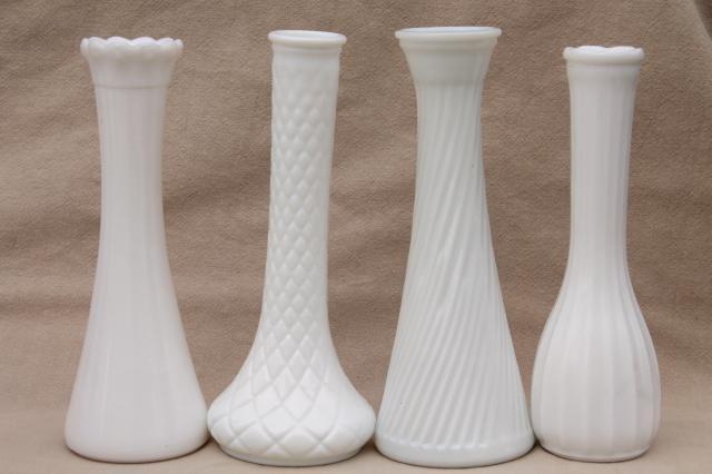 Vintage Milk Glass Vases Florists Vase Lot For Wedding Flowers