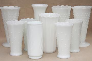vintage milk glass vases, florists vase lot for wedding flowers, displays