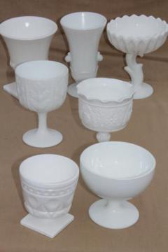 vintage milk glass vases & flower bowls, florists vases lot for wedding flowers, displays