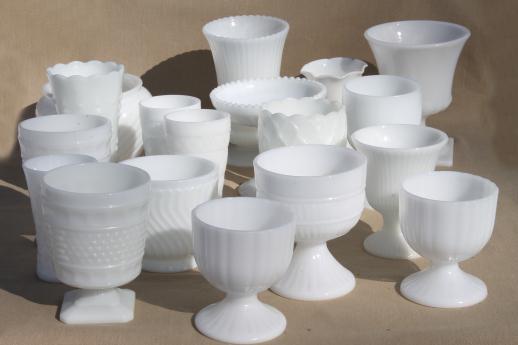 Vintage Milk Glass Vases Flower Bowls Huge Lot Of Florists Vases