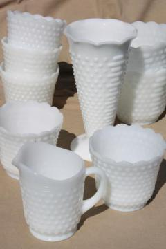 vintage milk glass vases & flower pot planters, Anchor Hocking hobnail milk glass