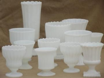 vintage milk glass vases lot, 12 classical urns & fluted shape planters