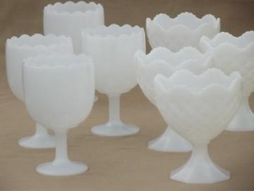 vintage milk glass vases lot, florist glass flower urns & goblet shapes