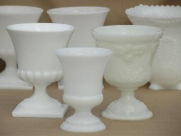 vintage milk glass vases lot, urns & old french milk glass jardinieres