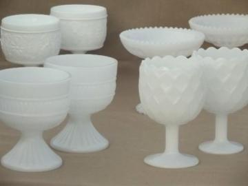 vintage milk glass vases lot, wine goblet vases, compote dessert stands