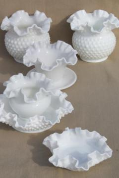vintage milk glass vases, planters, rose bowls - crimped ruffled edge glass some hobnail