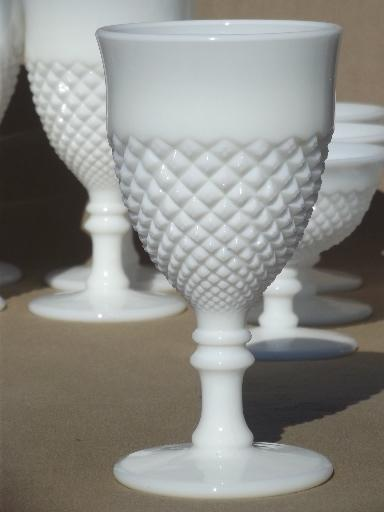 Vintage Milk Glass Wine Glasses Water Goblets English