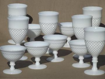 vintage milk glass wine glasses water goblets, English hobnail Westmoreland