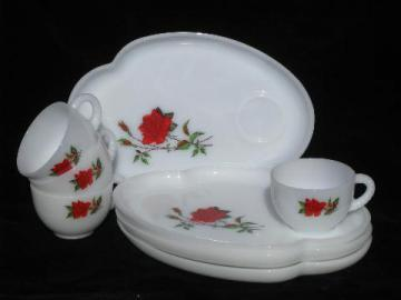 vintage milk white glass snack sets, red roses