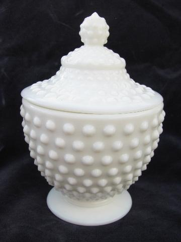 Vintage Milk White Hobnail Pattern Glass Covered Candy