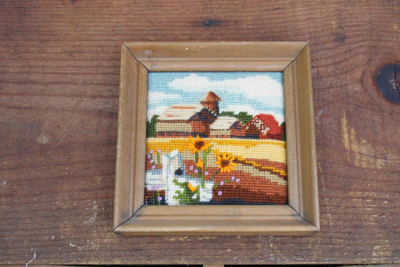 vintage mini needlepoint crewel embroidery picture, fall farm barn landscape scene