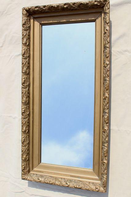 Vintage mirror w deep frame ornate gold gesso wood frame for Gold stand up mirror