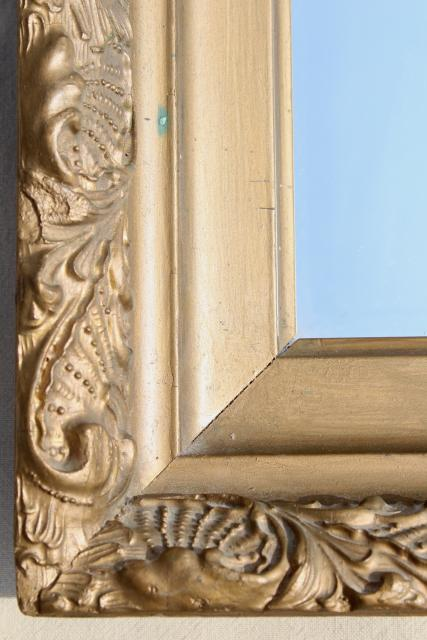 vintage mirror w/ deep frame, ornate gold gesso wood frame, rectangle portrait or landscape