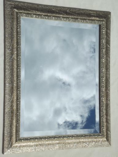 vintage mirror large beveled edge glass mirror in silvered antique gold wood frame