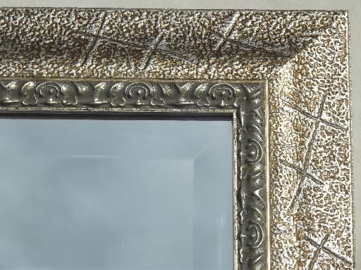 vintage mirror, large beveled edge glass mirror in silvered antique gold wood frame