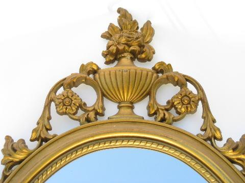 vintage mirror, ornate french country / italianette style gold rococo frame