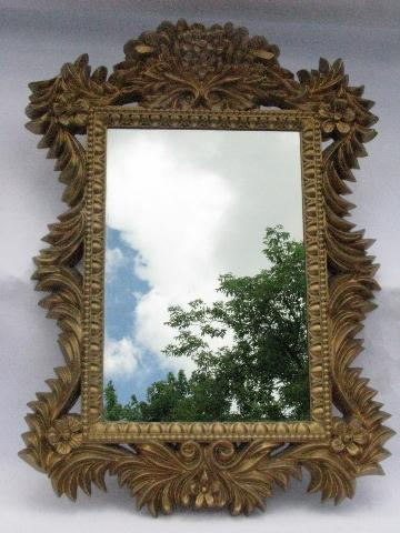 Vintage Mirror W Ornate French Country Rococo Gold Frame