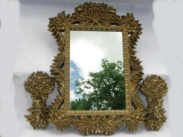 vintage mirror w/ ornate french country rococo gold frame, candle wall sconces
