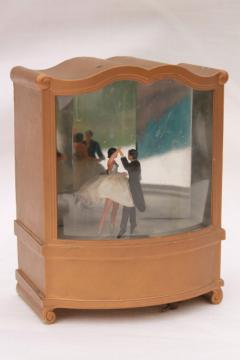 vintage mirror plastic shadowbox music box w/ dancer couple dancing to waltz