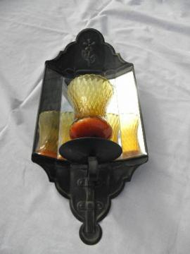vintage mirrored tole wall sconce lamp for votive candle, antique gold over black paint