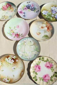 vintage mismatched florals wedding china, porcelain plates w/ hand painted flowers
