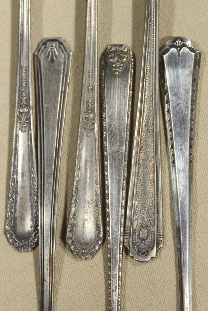 vintage mismatched silver plate iced tea spoons, long handle ice cream soda spoon lot