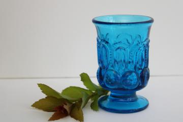 vintage moon and stars blue glass - footed tumbler, match holder or mini vase
