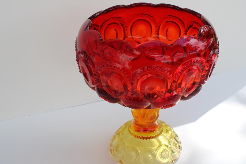 vintage moon and stars pattern amberina glass, cupped shape compote pedestal bowl
