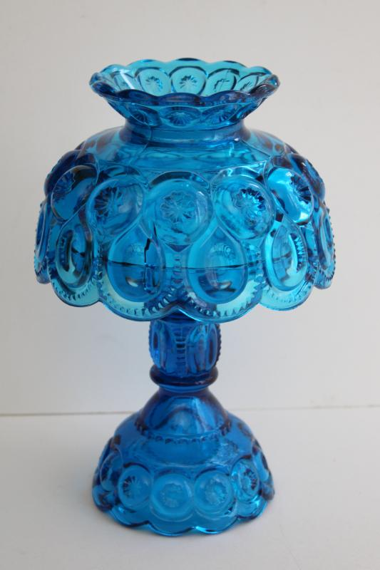 vintage moon and stars pattern blue glass candle lamp, candlestick w/ shade
