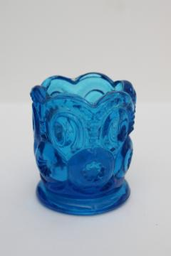 vintage moon and stars pattern blue glass toothpick holder or vase for matches