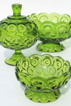 vintage moon and stars pattern green glass candy dishes, instant collection