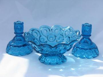vintage moon & star pattern glass, colonial blue console set, bowl & candlesticks