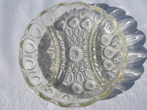 vintage moon & star pattern glass, divided dish relish plate, crystal clear