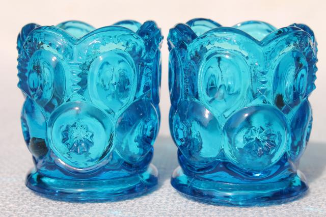 vintage moon & stars pattern glass candle cups, votive or tea light holders
