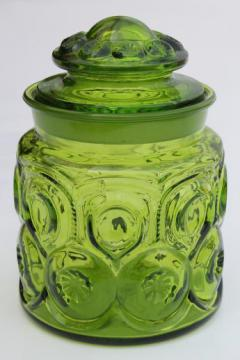 vintage moon & stars pattern glass canister, green glass moon & stars jar w/ lid