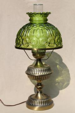 vintage moon & stars pattern glass shade, green glass lampshade table lamp