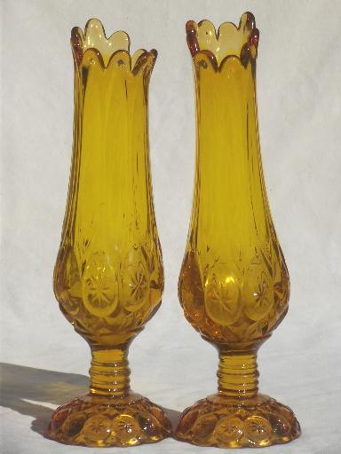 vintage moon & stars pattern glass vases, canary yellow amber glass tall vase set