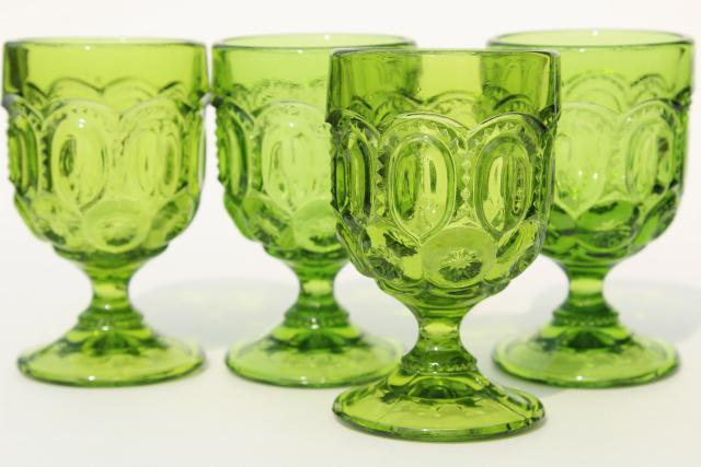 vintage moon & stars pattern green glassware, cordial or sherry wine glasses