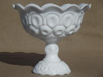 vintage moon & stars pattern milk glass compote bowl pedestal dish